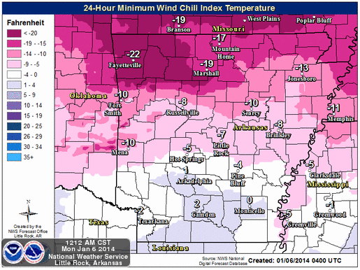 this-graphic-from-the-national-weather-service-shows-the-minimum-wind-chills-forecast-for-arkansas-through-early-tuesday-morning