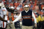 Auburn head coach Gus Malzahn before the NCAA BCS National Championship college football game against Florida State Monday, Jan. 6, 2014, in Pasadena, Calif. (AP Photo/Chris Carlson)