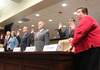 Panelists are sworn in Tuesday before a legislative meeting concerning the UA audit. From left to right: UA-Fayetteville Vice Chancellor for Finance and Administration Don Pederson, UA-Fayetteville Associate Vice Chancellor for Financial Affairs Jean Schook, UA-Fayetteville Chancellor David Gearhart, former UA-Fayetteville Vice Chancellor for Advancement Brad Choate, former UA-Fayetteville Associate Vice Chancellor for University Relations John Diamond and former UA-Fayetteville Advancement Division Budget Director Joy Sharp.