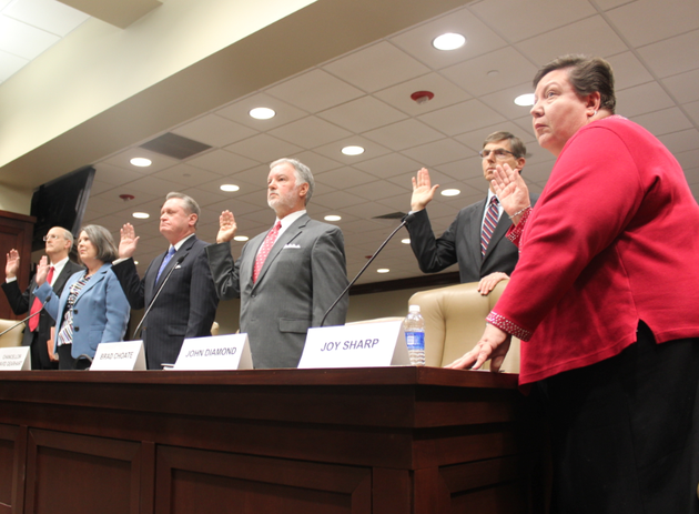 panelists-are-sworn-in-tuesday-before-a-legislative-meeting-concerning-the-ua-audit-from-left-to-right-ua-fayetteville-vice-chancellor-for-finance-and-administration-don-pederson-ua-fayetteville-associate-vice-chancellor-for-financial-affairs-jean-schook-ua-fayetteville-chancellor-david-gearhart-former-ua-fayetteville-vice-chancellor-for-advancement-brad-choate-former-ua-fayetteville-associate-vice-chancellor-for-university-relations-john-diamond-and-former-ua-fayetteville-advancement-division-budget-director-joy-sharp