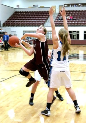 Photo by Randy Moll Haley Borgeteien-James was fouled in an attempt for two in play against Western Grove during a consolation round on Friday at Siloam Springs High School.