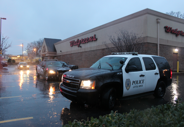 police-work-the-scene-of-a-reported-robbery-at-a-little-rock-walgreens-thursday-morning