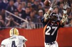 Denver Broncos safety Steve Atwater (27) jumps into the air in an attempt to block Green Bay Packers quarterback Brett Favre's pass during the third quarter of Super Bowl XXXII at San Diego's Qualcomm Stadium, Jan. 25, 1998. (AP Photo/John Gaps III)