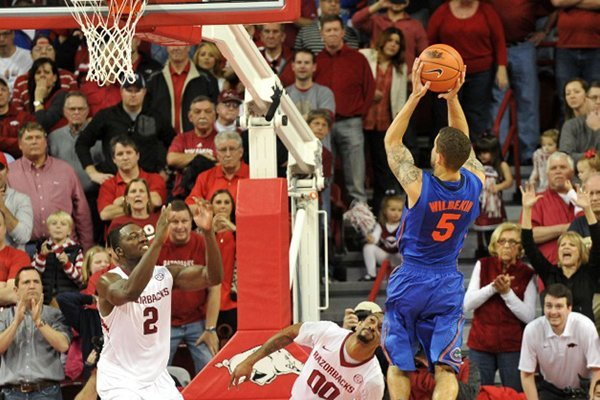 Florida guard Scottie Wilbekin makes a shot with 2 seconds left in regulation to force overtime during a Jan. 11, 2014 game at Bud Walton Arena in Fayetteville.