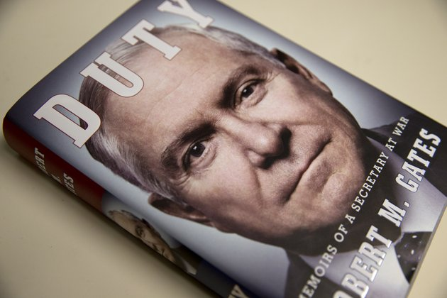 the-book-entitled-duty-memoirs-of-a-secretary-of-war-by-former-defense-secretary-robert-gates-is-seen-in-washington-wednesday-jan-8-2014-the-white-house-is-bristling-over-former-defense-secretary-robert-gates-new-memoir-accusing-president-barack-obama-of-showing-too-little-enthusiasm-for-the-us-war-mission-in-afghanistan-and-sharply-criticizing-vice-president-joe-bidens-foreign-policy-instincts-ap-photojacquelyn-martin