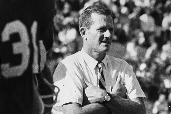 Former Arkansas coach Frank Broyles in an undated photo at Razorback Stadium in Fayetteville. Broyles' 1964 national championship team will be honored at the Razorbacks' 2014 game against Alabama.