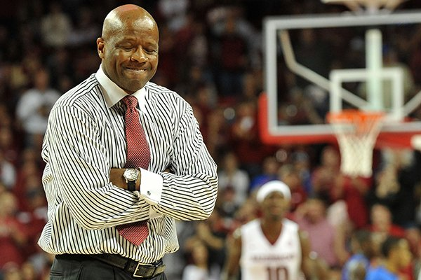 Arkansas coach Mike Anderson reacts to a call in the second half of Saturday afternoon's game against Florida at Bud Walton Arena in Fayetteville.