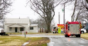 Photo by Randy Moll Firefighters from Highfill, Gentry, Centerton and Cave Springs responded to a fire at this home along Fourth Street in Highfill on Friday morning. The fire is believed to have been caused by lightning.