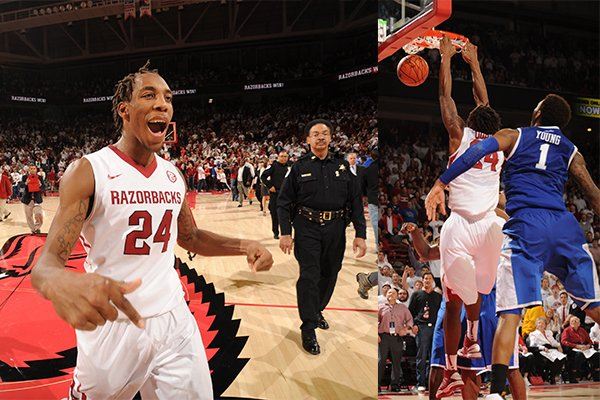 LEFT: Arkansas' Michael Qualls celebrates following Arkansas' 87-85 overtime win over No. 13 Kentucky at Bud Walton Arena on Jan. 14, 2014. RIGHT: Qualls dunks the basketball with 0.2 seconds remaining in overtime to give the Razorbacks the go-ahead score.