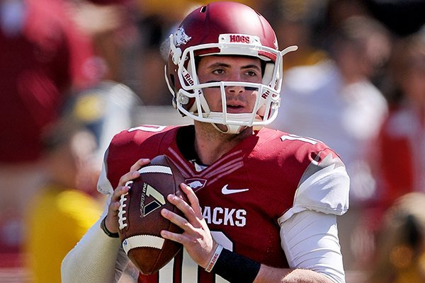 Arkansas quarterback Brandon Allen looks for a receiver during the first quarter of the game against Southern Miss on Saturday September 14, 2013 at Razorbacks Stadium in Fayetteville.