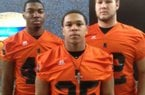 LB Khairan Stafford (left), RB Carl Turner (middle) and OL Jesse Simmons (right) gives Newport three major college prospects.