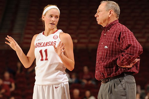Arkansas guard Calli Berna, left, speaks with coach Tom Collen during the second half of play against Mississippi State Sunday, Jan. 12, 2014, in Bud Walton Arena in Fayetteville.
