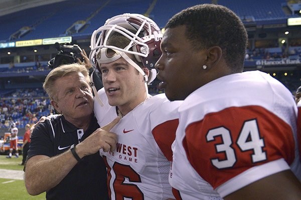 Former Arkansas kicker Zach Hocker made three field goals to help the East to a 23-13 win in the East-West Shrine Game on Saturday in St. Petersburg, Fla.