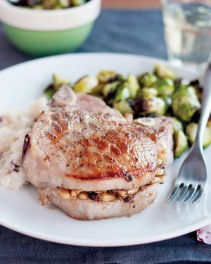 Pork Chops Stuffed With Pine Nuts, Porcini Mushrooms and Pecorino