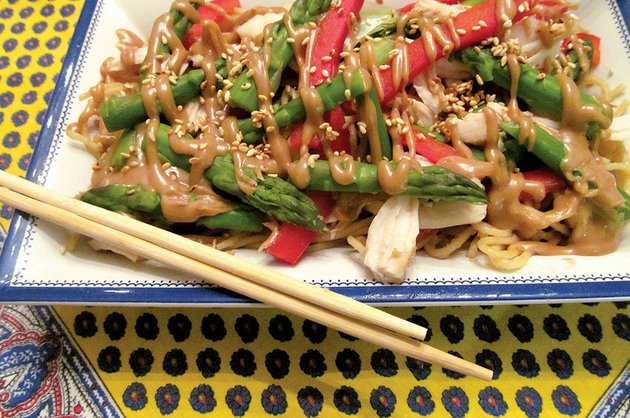 familiar-and-comforting-noodles-form-the-base-for-the-flavor-of-peanut-butter-in-this-slightly-spicy-peanut-sauce-fresh-red-peppers-asparagus-and-several-spices-elevate-everyday-peanut-butter-to-a-creamy-savory-surprise-in-this-one-dish-meal