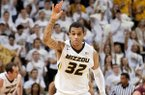 Missouri's Jabari Brown celebrates after making a three point shot during the second half of an NCAA college basketball game against South Carolina Saturday, Jan. 25, 2014, in Columbia, Mo. Missouri won the game 82-74. (AP Photo/L.G. Patterson)