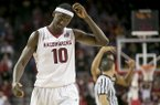 Arkansas forward Bobby Portis (10) reacts to a foul call against him during the second half of an NCAA college basketball game against Missouri on Tuesday, Jan. 28, 2014, in Fayetteville, Ark. (AP Photo/Gareth Patterson)