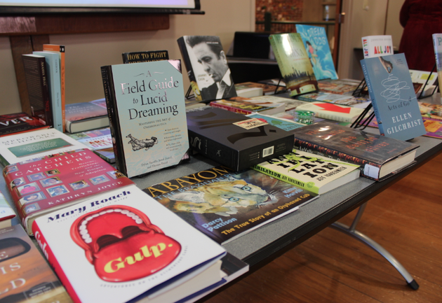 books-by-authors-who-will-be-presenters-during-this-years-arkansas-literary-festival-line-a-table-during-an-announcement-of-the-lineup-wednesday-in-little-rock