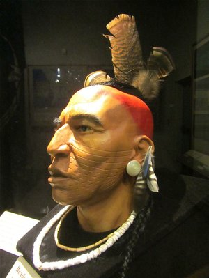 A bust at Parkin Archeological State Park gives a sense of how a Casqui warrior might have looked in the 16th century.