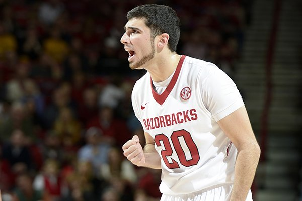 Arkansas guard Kikko Haydar tries to rally the team against Missouri late in the first half Tuesday, Jan. 28, 2014 at Bud Walton Arena in Fayetteville.