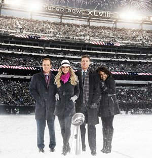 The broadcast team for today's Super Bowl XLVIII includes (from left) Joe Buck, Erin Andrews, Troy Aikman and Pam Oliver.