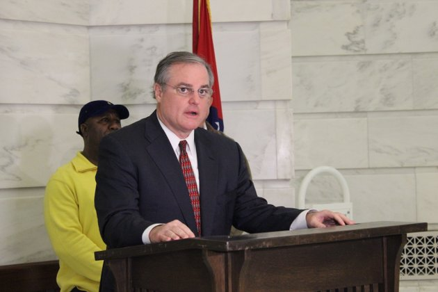 us-sen-mark-pryor-criticized-us-rep-tom-cotton-in-the-rotunda-room-at-the-arkansas-capitol-building-saturday-feb-1-2014-for-voting-against-the-farm-bill-that-passed-the-house-251-166-earlier-in-the-week-cotton-who-represents-the-4th-district-in-the-house-is-running-for-pryors-seat