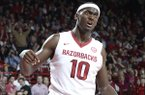 Arkansas' Bobby Portis (10) reacts to a foul against Missouri in the second half Tuesday, Jan. 28, 2014 at Bud Walton Arena in Fayetteville.