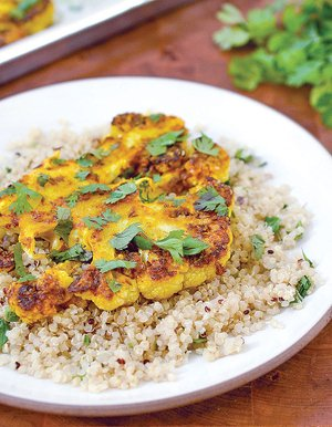 Cauliflower Steaks With Ginger, Turmeric and Cumin