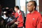 Randy Shannon, Arkansas assistant coach and linebackers coach, speaks to members of the media during a National Signing Day ceremony Wednesday, Feb. 5, 2014, at the university's football complex.