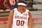 Arkansas freshman Jessica Jackson (00) reacts to a turnover during the second half of play Sunday, Feb. 2, 2014, at Bud Walton Arena in Fayetteville.