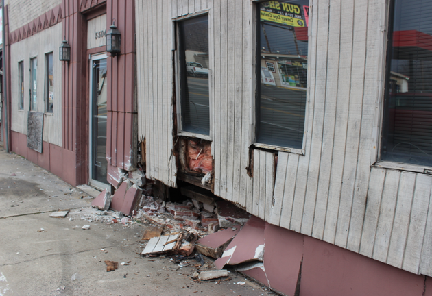 a-building-in-the-3300-block-of-pike-avenue-suffered-extensive-damage-when-a-fleeing-vehicle-hit-it-late-tuesday-night-authorities-said