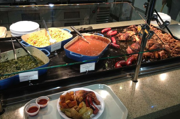green-leaf-grill-in-the-blue-cross-blue-shield-building-601-s-gaines-st-little-rock-offers-breakfast-and-lunch-selections-pictured-chicken-smoked-sausage-and-vegetables-in-a-modern-food-court-setup
