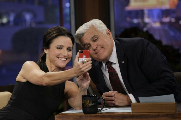 jay-leno-and-julia-louis-dreyfus-share-a-selfie-on-the-tonight-show-in-september