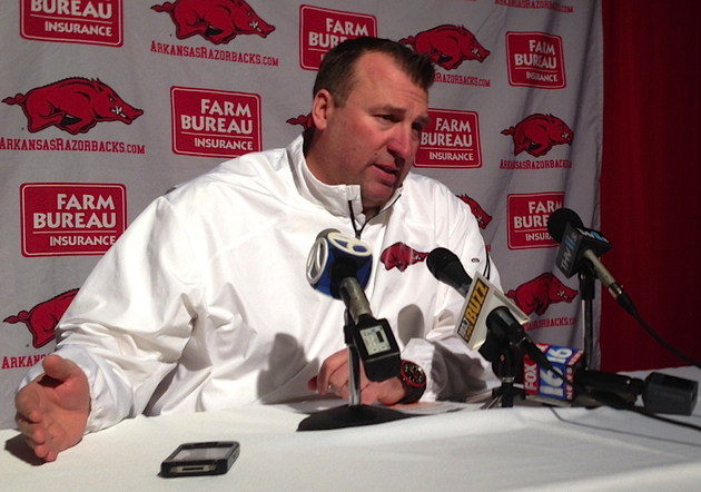 arkansas-head-coach-bret-bielema-talks-during-signing-day-in-the-rock-on-feb-6-2014-at-the-clear-channel-metroplex-in-little-rock