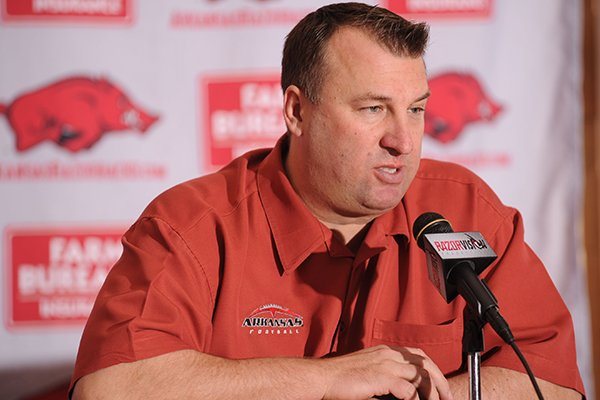 Arkansas coach Bret Bielema speaks during a National Signing Day ceremony Wednesday, Feb. 5, 2014, at the university's football complex.
