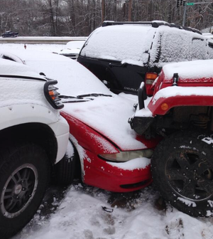 Vehicles are piled up on Kierre Drive in North Little Rock Saturday.