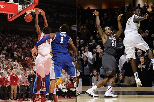 LEFT: Michael Qualls dunks the basketball with 0.2 seconds left in overtime during Arkansas' 87-85 win over Kentucky on Jan. 14. RIGHT: Qualls hits a 3-pointer with 2.6 seconds remaining during the Razorbacks' 77-75 win over Vanderbilt on Feb. 8.