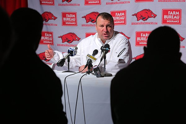 Bret Bielema speaks prior to an event in Little Rock on Feb. 6.