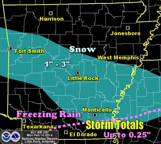 one-to-three-inches-of-snow-is-expected-across-the-central-third-of-arkansas-into-the-southeast-counties-south-of-the-snow-freezing-rain-is-expected-toward-the-louisiana-border-spotty-tenth-to-quarter-inch-ice-accruals-are-not-out-of-the-question-precipitation-should-wind-down-early-on-the-11th