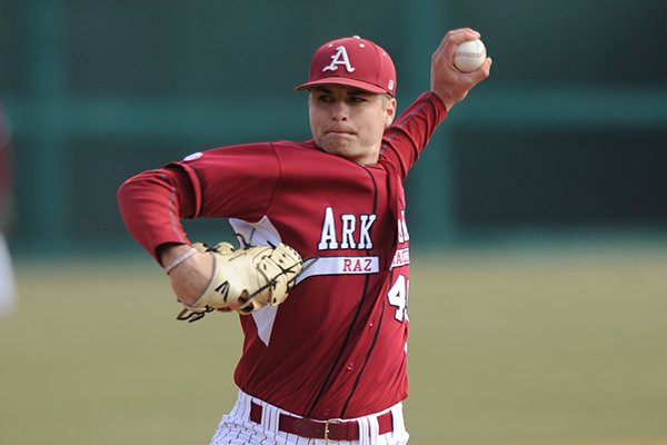 Arkansas reliever Jalen Beeks delivers a pitch Saturday, Feb. 16, 2013, during the sixth inning of the Hogs' win over Western Illinois at Baum Stadium in Fayetteville.