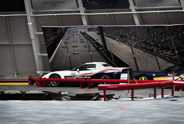 a-sinkhole-opened-up-swallowing-eight-cars-in-the-dome-showroom-of-the-national-corvette-museum-in-bowling-green-ky-on-wednesday-feb-12-2014
