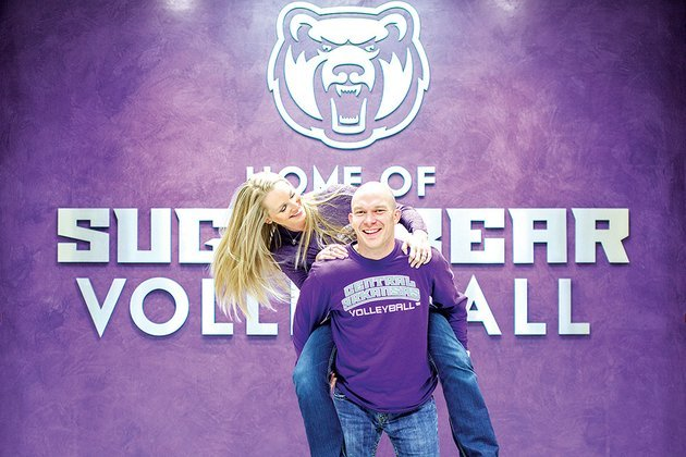 john-newberry-a-former-university-of-central-arkansas-all-american-punter-and-brittany-a-star-high-school-volleyball-player-coach-the-uca-womens-volleyball-team-brittany-is-a-part-time-coach-and-will-become-full-time-when-she-graduates-in-may-with-a-master-of-arts-in-teaching-she-is-serving-as-an-intern-at-morrilton-high-school