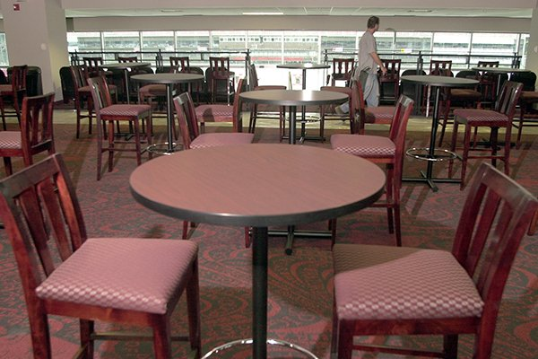 This photo shows club seating inside Razorback Stadium.