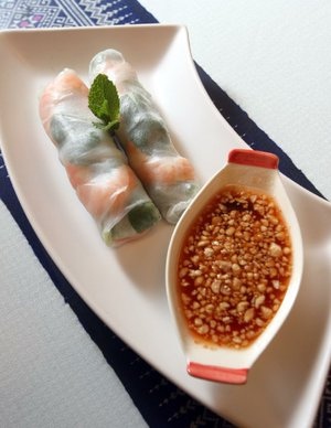 Por Pia Sod, fresh spring rolls, features shrimp, organic baby spinach, basil and bean sprouts, among other ingredients, in wrap rice-paper wrapper at Chang Thai & Asian Cuisine in Sherwood.