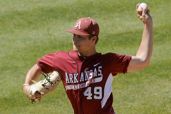 Arkansas pitcher Jalen Beeks fires a pitch during a May 25, 2013 game against LSU in the 2013 SEC baseball tournament in Hoover, Ala.