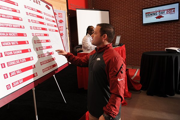 Chris Hauser, Arkansas' director of on-campus recruiting, right, and Aaron Henry, graduate assistant football coach, set up a board displaying Arkansas' 2014 signing class before the start of a National Signing Day ceremony Wednesday, Feb. 5, 2014, at the university's football complex.