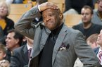 Arkansas head coach Mike Anderson reacts to a referee's call during the first half of an NCAA college basketball game against Missouri, Thursday, Feb. 13, 2014, in Columbia, Mo. (AP Photo/L.G. Patterson)