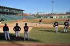 Arkansas' baseball team runs situation drills during the first practice of the season on Friday, Jan. 24, 2014 at Baum Stadium in Fayetteville.