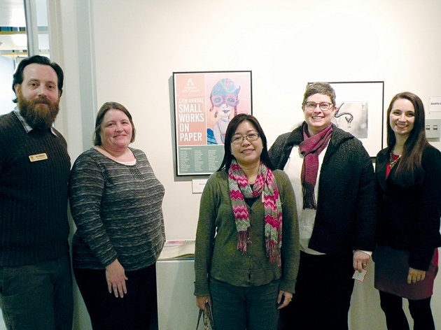 several-area-artists-attended-a-reception-for-the-27th-annual-small-works-on-paper-exhibit-feb-5-at-the-norman-hall-art-gallery-at-arkansas-tech-university-in-russellville-they-include-from-the-left-neal-harrington-of-russellville-michelle-moore-of-conway-representing-robert-robbins-tammy-harrington-of-russellville-cathy-wester-of-conway-and-rachel-trusty-of-little-rock-formerly-of-russellville