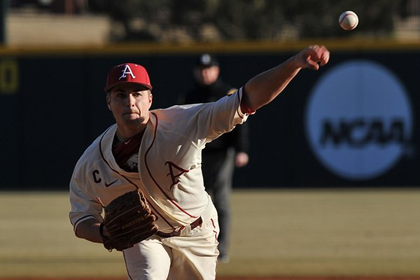 Arkansas pitcher Jalen Beeks fires a pitch during the first inning of the Razorbacks' season opener against Appalachian State Friday afternoon at Baum Stadium in Fayetteville.
